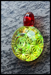 Cone 12 Flat Glass - Leaves Vortex Light Bender Pendant - The Bong Czar Smokeshop & Heady Czar Glass Gallery