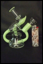 Load image into Gallery viewer, Curved Green Horn Bong / Dab Rig comes with clear flower bowl - The Bong Czar online Head Shop