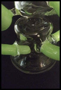 Curved Green Horn Bong / Dab Rig comes with clear flower bowl - The Bong Czar online Head Shop