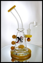 "Load image into Gallery viewer, Dank Glass - 7.5"" Amber and Clear Rig - The Bong Czar Smokeshop & Heady Czar Glass Gallery"