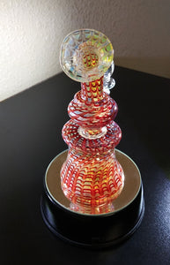 "Fumed Raked Red Glass Beaker - 6"" - The Bong Czar Shop & Heady Czar Glass Gallery"