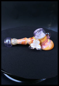 Oats Glass - Purple Lolipop with white Flower HammerPipe - The Bong Czar