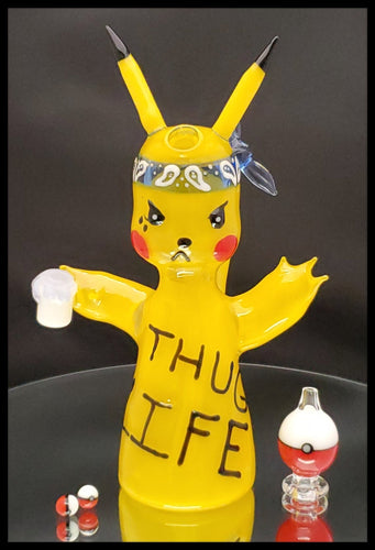 ShoeLess Glass - Pikachu Thug Life Rig, pokeball cap and 2 pokeball pearls - The Bong Czar Smokeshop & Heady Czar Glass Gallery