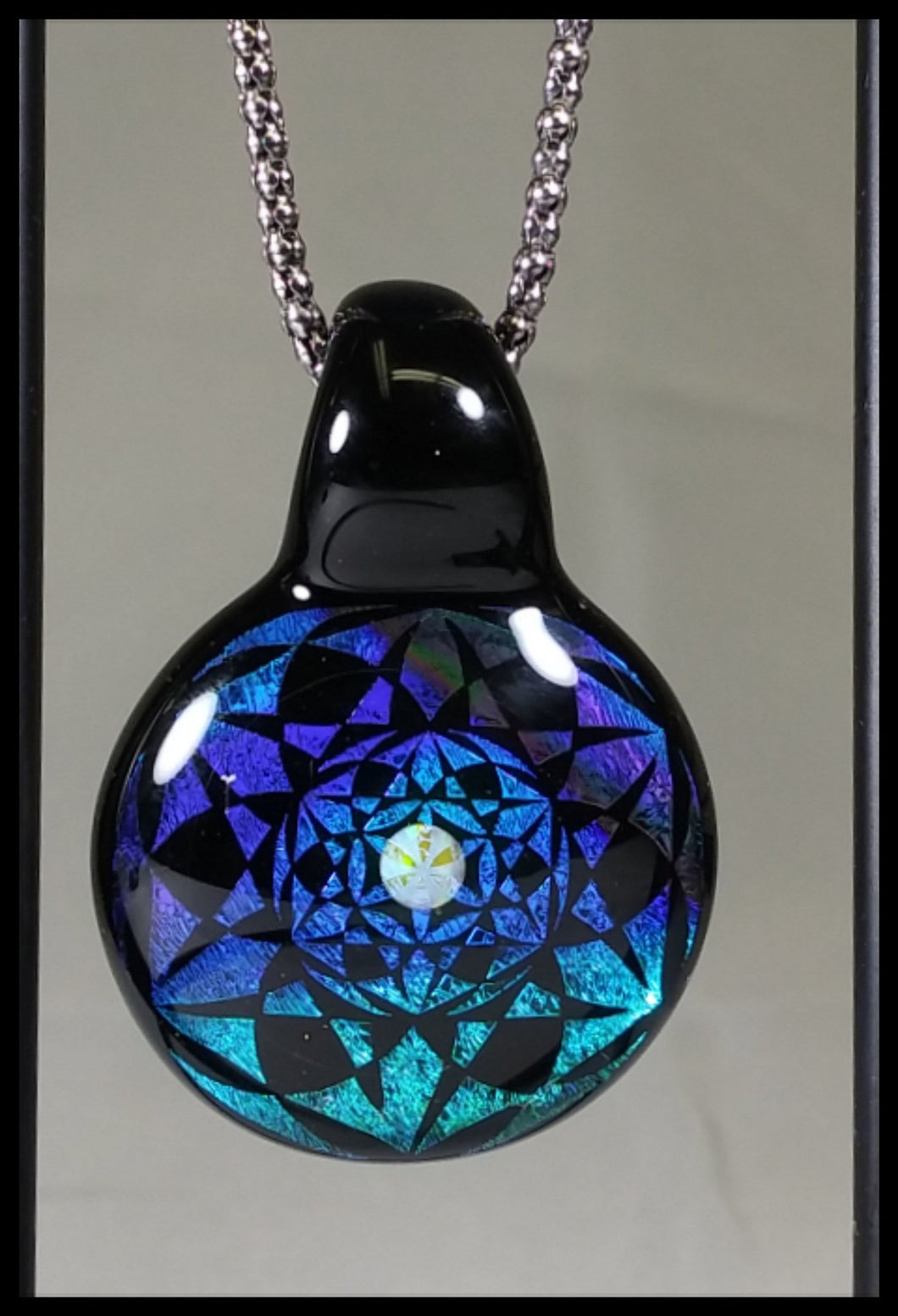 Heady Pendant- Blue/green/Purple/Black Dichro  - Heady Czar Glass Gallery