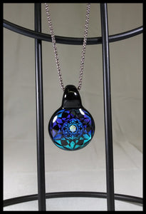Subtl Glass - Blue/green/Black Dichro Pendant - The Bong Czar Smokeshop & Heady Czar Glass Gallery