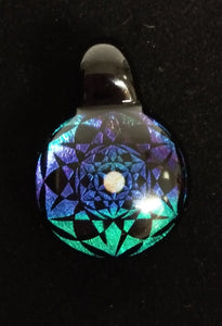 Subtl Glass - Blue/green/Purple & Black Dichro with center opal Pendant - The Bong Czar Smokeshop & Heady Czar Glass Gallery