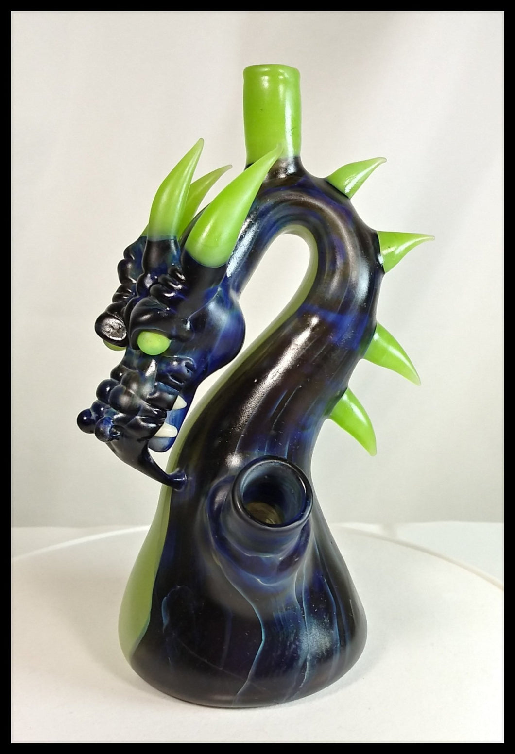 Tony Kazy Glass - Dragon Rig (sandblasted) - The Bong Czar Smokeshop & Heady Czar Glass Gallery