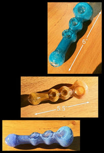 "Triple Bowl Glass Pipes 5.5-6"" - The Bong Czar online Head Shop"