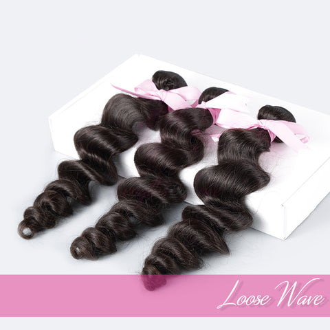 THREE BUNDLE DEAL OF VIRGIN HAIR WEFTS | LOVE COLLECTION | Loosewave
