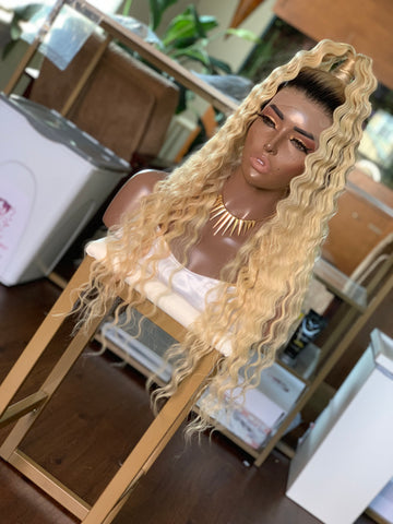 Customized Human Hair Unit | Blonde  Crimps with Roots 22"
