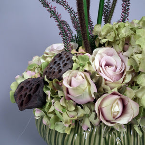 DELIANN - Roses & Cala Lillies Silk Flowers in Ceramic Vase