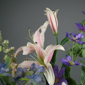 DIEPPE - Silk Lillies, Scabiosa & Clematis with Bamboo Vase