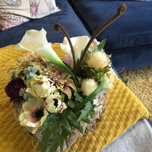 Load image into Gallery viewer, LULU - Silk Dalias, Anemones & Calla Lillies in Heart Shaped Bark Log