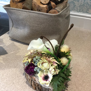 LULU - Silk Dalias, Anemones & Calla Lillies in Heart Shaped Bark Log