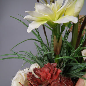 MARTHA - Artificial White Amaryllis English Rose & Fern in Wooden Planter