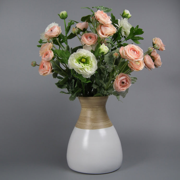 Peach & White Ranunculus Hand-tied
