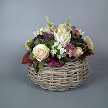 Load image into Gallery viewer, TABATHA - Pink & White Flourish of Silk Flowers with Wicker Basket