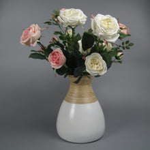 Load image into Gallery viewer, Pink & White Silk Cabbage Roses