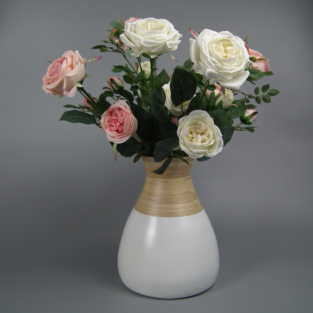 Pink & White Silk Cabbage Roses