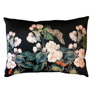Vanilla Fly Apple Blossom Black Velvet Cushion