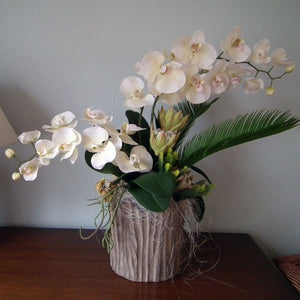 GRACE - White Phalaenopsis Orchid & Tropical Foliage