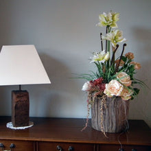 Load image into Gallery viewer, MARTHA - Artificial White Amaryllis English Rose & Fern in Wooden Planter