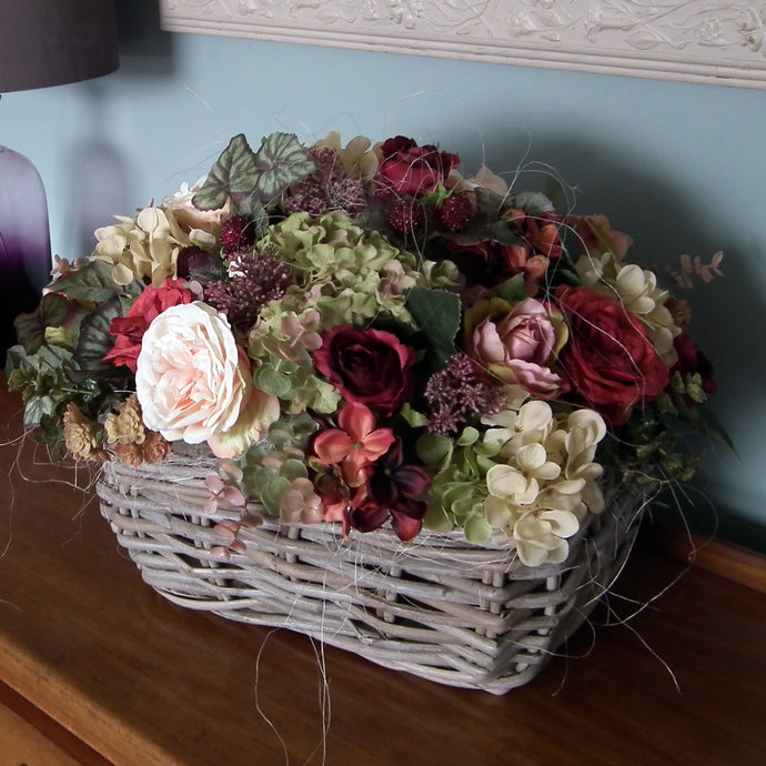 JESSICA - Rose Hydrangeas & Berry Autumn in Wicker Basket
