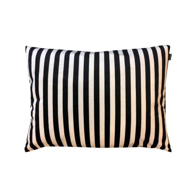 Vanilla Fly Black & Creme Stripe Velvet Cushion