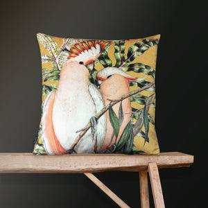 Vanilla Fly Cockatoo Curry Velvet Cushion