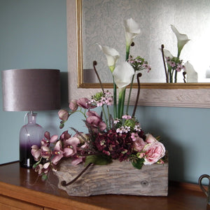 JAYNE - Silk Pink Orchid & White Calla Lily in Wooden Log