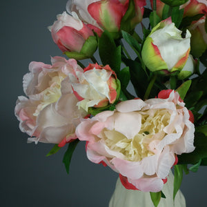Bunch of Pink & White Silk Peonies