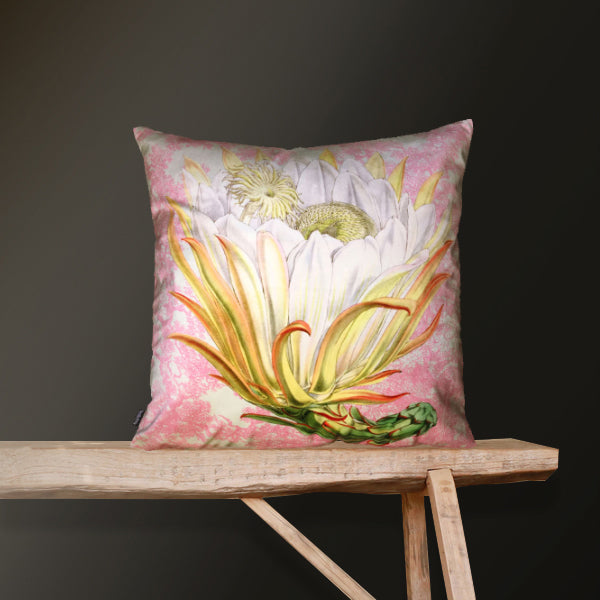 Vanilla Fly Protea Pink Toile Cushion