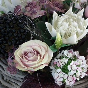 TABATHA - Pink & White Flourish of Silk Flowers with Wicker Basket