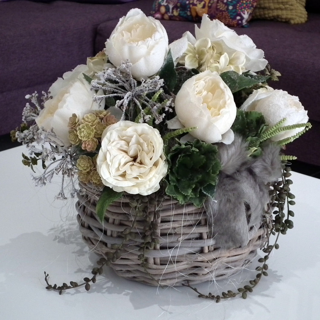 JACKIE - Frosted Silk White Rose & Peony Flowers in Wicker Basket