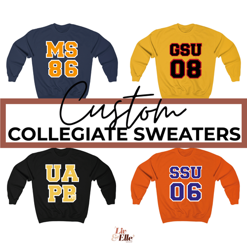 CUSTOM COLLEGE GRAD YEAR Sweatshirt | Customize School, Colors and Graduation Year