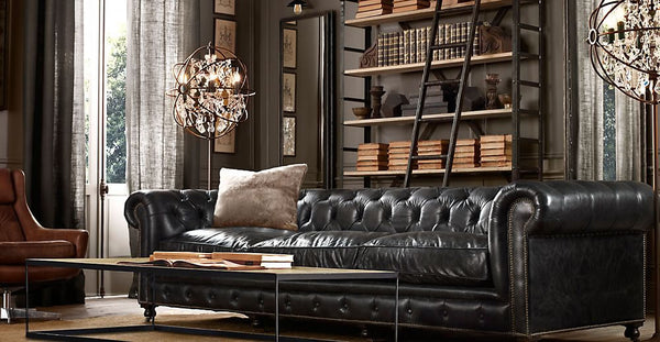Leather Chesterfield Sofa in a retro classic modern living room