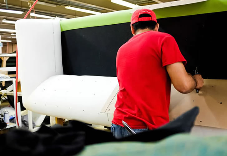 sofa being made by hand at our workshop