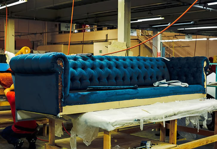 half finished sofa in our workshop