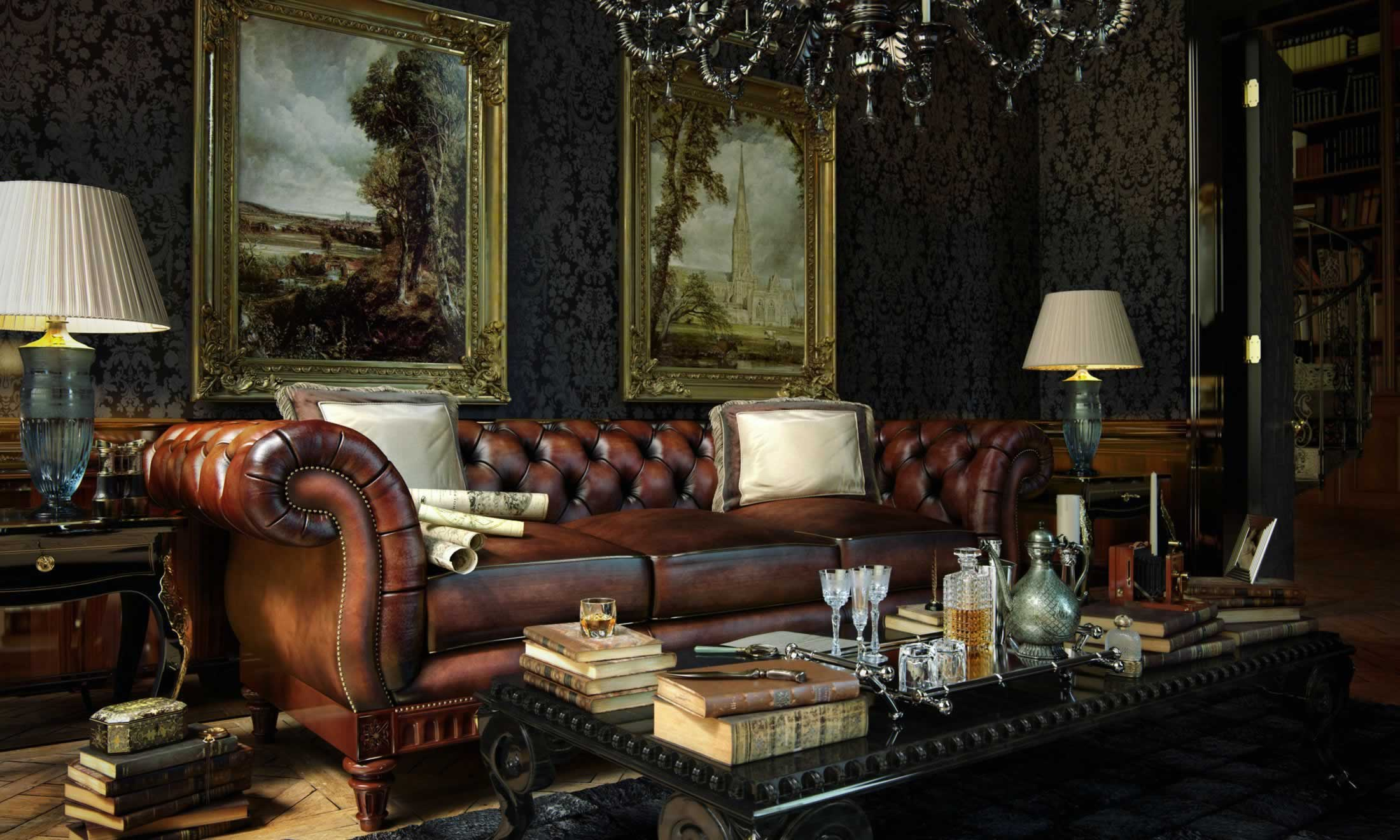 leather chesterfield sofa in a grand hotel lobby