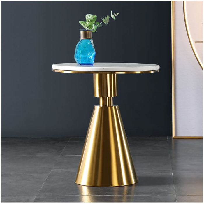 Ethan Side Table, Gold Metal Marble Top
