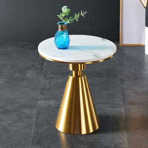 Ethan Side Table, Gold Metal Marble Top 2