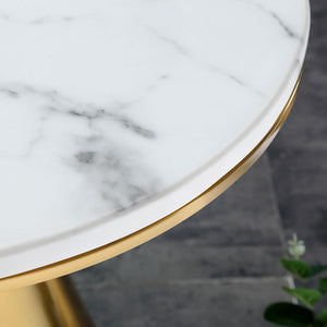 Ethan Side Table, Gold Metal Marble Top 6