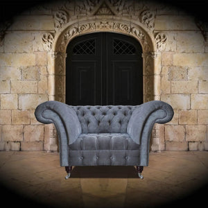 The Mayfair Chesterfield Buttoned Seat Sofa Grey Velvet 3 Seater