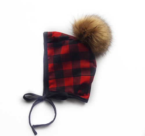 Red + black flannel bonnet - Lorin Lane Design