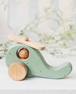 Wooden mint green rustic helicopter