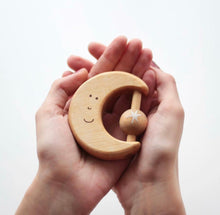 Load image into Gallery viewer, Wooden moon baby toy and teether + rattle