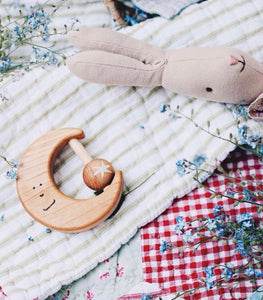 Wooden moon baby toy and teether + rattle