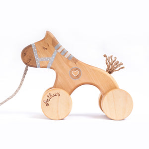 Wooden horse pull toy - blue