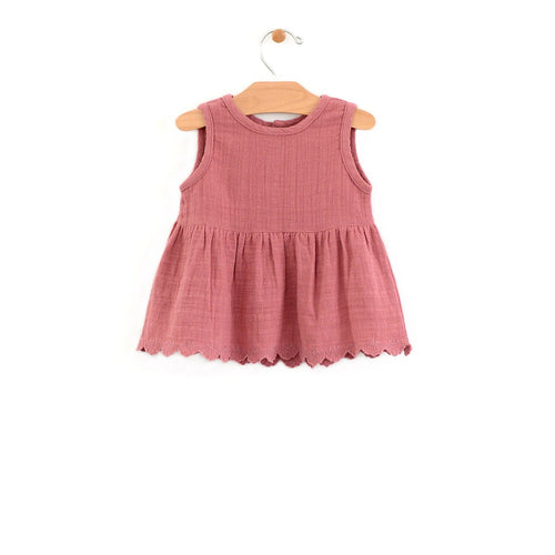 Muslin lace trim peplum - sunset rose