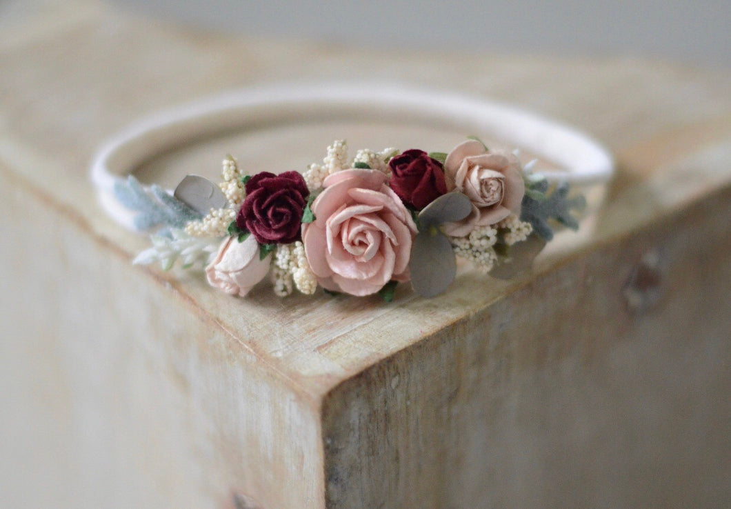 Blush & burgundy flower headband